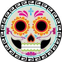 Calavera para día de muertos realizada en Illustrator para concurso de sticker \u0026quot;Calaveras y Catrinas