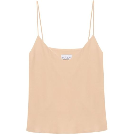 Raey Deep-V cami top ($152) ❤ liked on Polyvore featuring tops, nude, cami tank, v neck tank, silk tank top, silk camisole and boyfriend tank