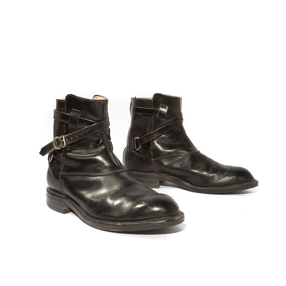 Vintage Men&39s Ankle Boots Wrap Around Strap and Buckle Motorcycle