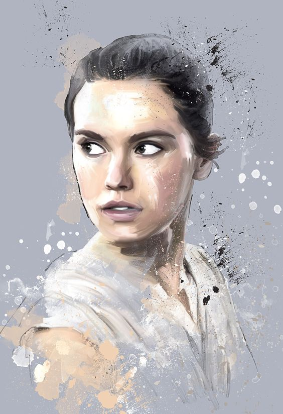 Artwork of Rey ( Daisy Ridley ) Star Wars: The Force Awakens Art of Akers