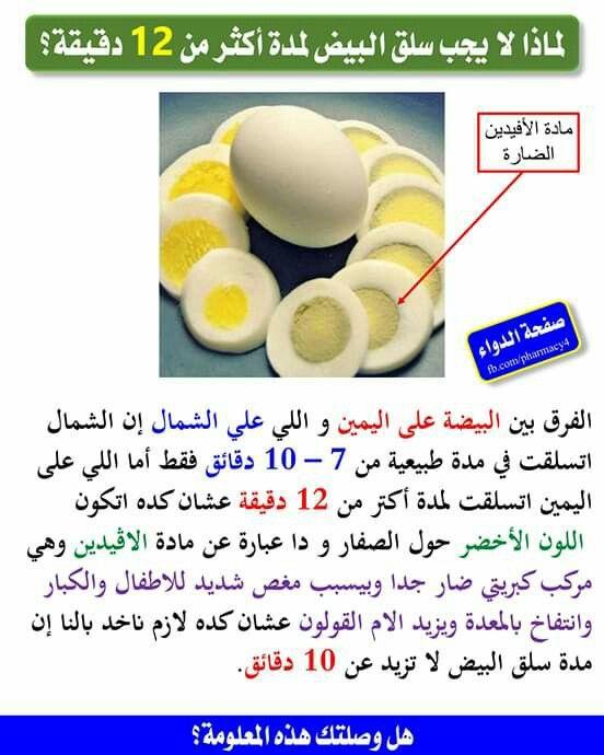 مدة سلق البيض ﻻ تزيد عن 10 دقائق Health Facts Food Health And Nutrition Health Fitness Nutrition