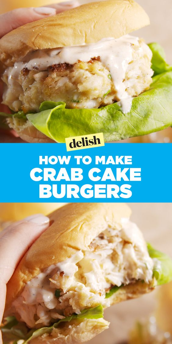 Crab Cakes taste even better as a burger. Get the recipe on Delish.com
