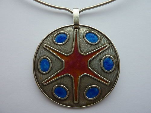 Modernist Large Enamel and Silver Pendant on Torc Albert Scharning Norway