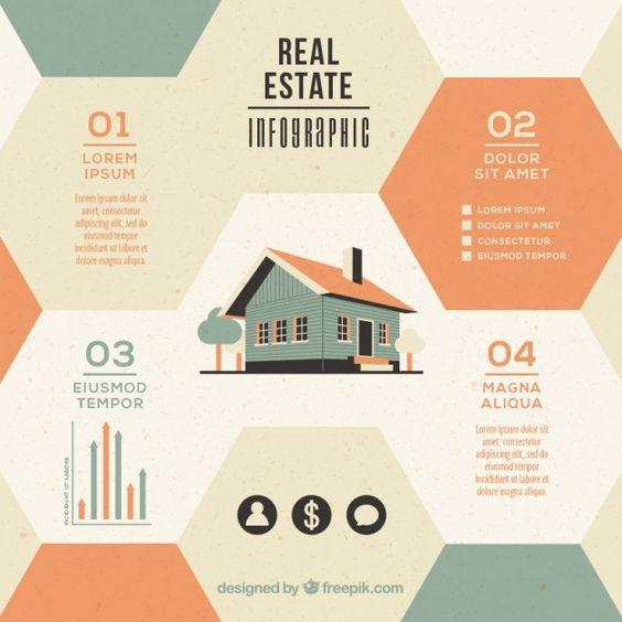 Infografía de inmobiliaria hexagonal con casa en diseño plano Vector Gratis