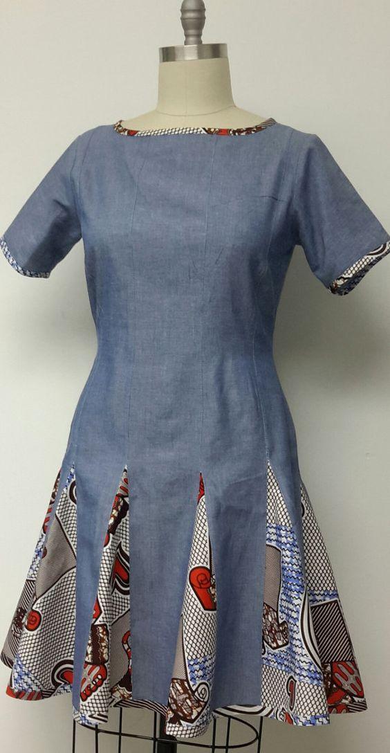 Denim and African Print Summer Dress. Womens Clothing. Handmade. Womens Dresses.