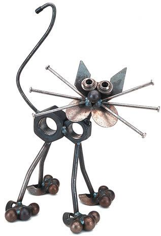 Nuts the Cat Recycled Metal Art Sculpture Available at AllSculptures.com