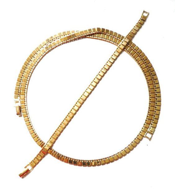 Vintage MONET Goldtone Flat Link  Necklace and by BajanLizard, $34.99