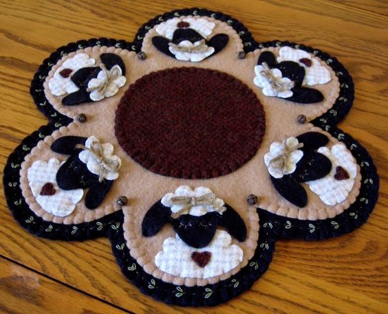 """Bashful Sheep Woolly Primitive"" ~ 13 1/2"" Penny Rug ~ Candle Mat ~ Wool felt"