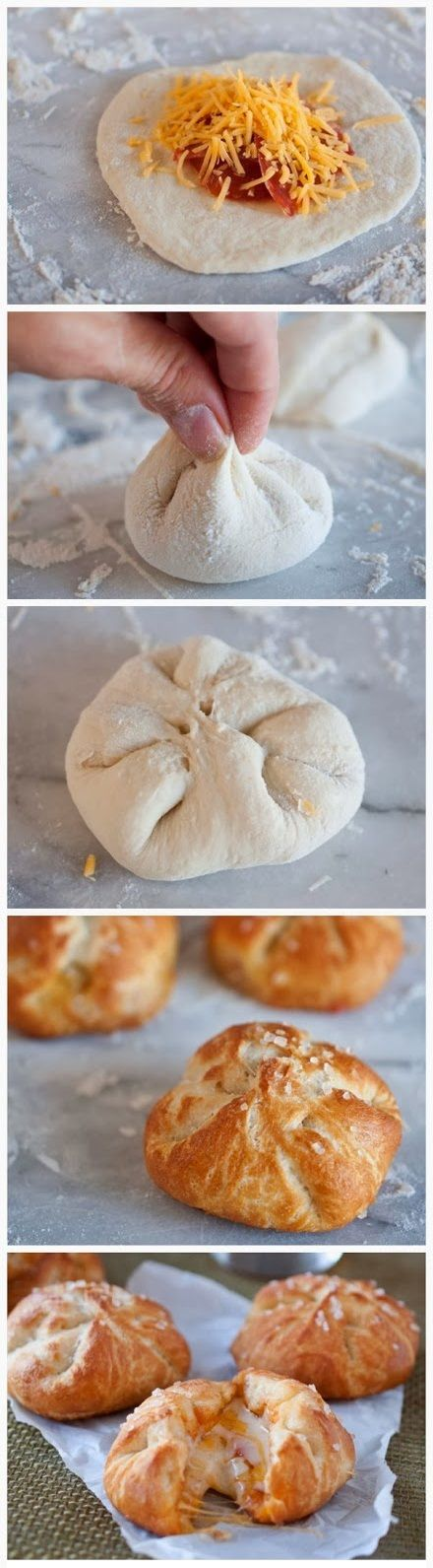 Pizza Stuffed Pretzel Rolls Recipe. Ooo just use ham and cheese and you have breakfast!: