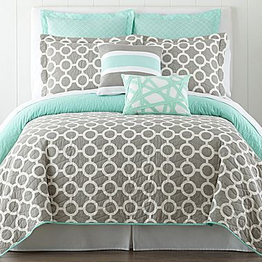 Mint Grey Bedding Add Black For The Home Pinterest