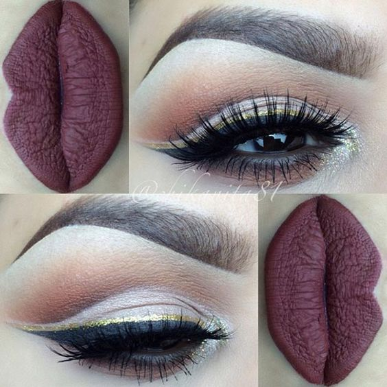 Dark Matte Lips with Gold Glitter Eyeliner