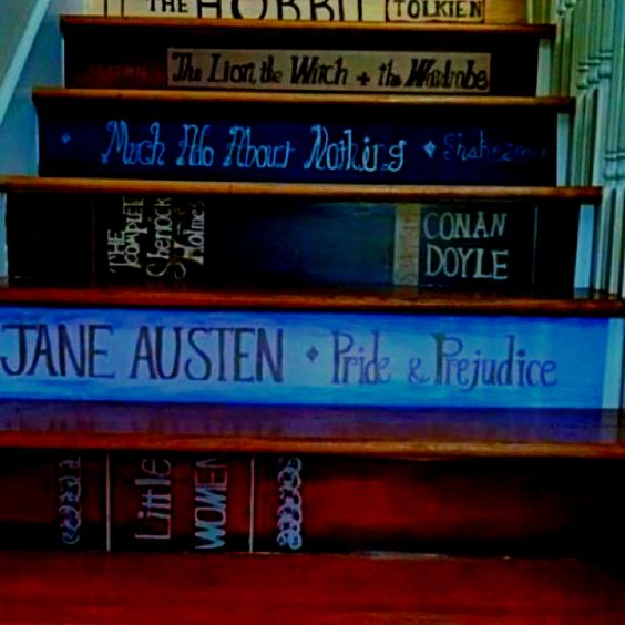 Book Spines painted on stairs. Might be my favorite painted stairs yet!