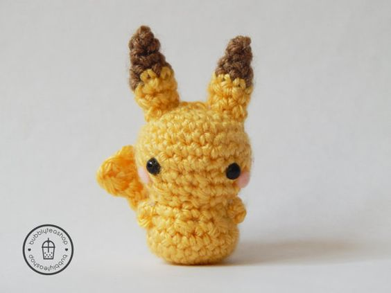 Mini Pikachu Amigurumi Keychain - Pikachu Amigurumi - Mini ...