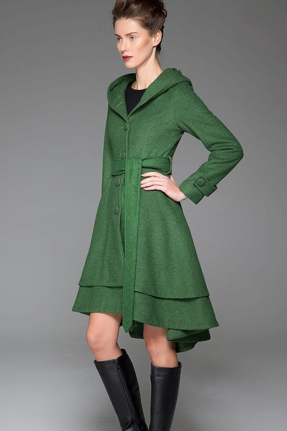 Green wool jacket womens coats winter coat tie belt coat