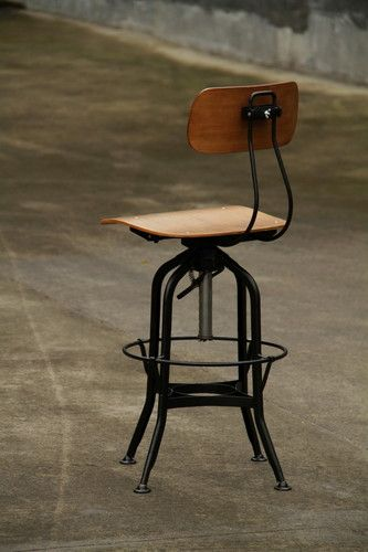 2 Pieces Rustic Metal Amp Wood Industrial Drafting Stool