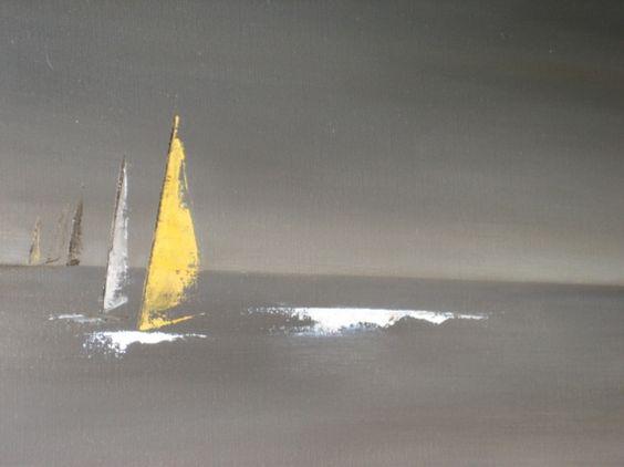 TABLEAU PEINTURE voiles bateaux noir horizon Marine Peinture a l'huile  - Course en mer