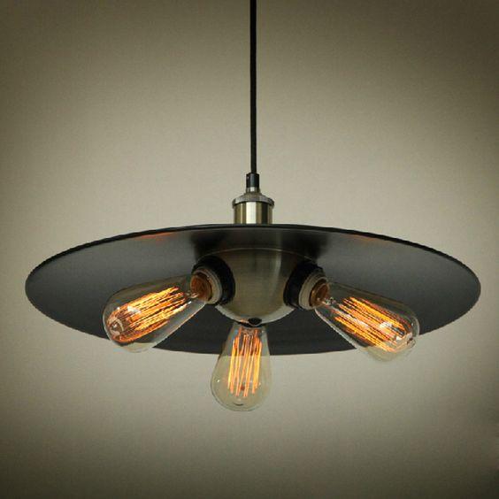 Industrial Mini Pendant Light: Industrial Edison Mini Metal Pendant Light 3 Lights