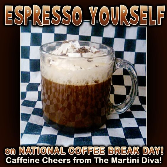 Here's Serious Caffeine for National Coffee Break Day, January 20th. ESPRESSO YOURSELF Coffee Cocktail: Click for recipe and more coffee cocktails.
