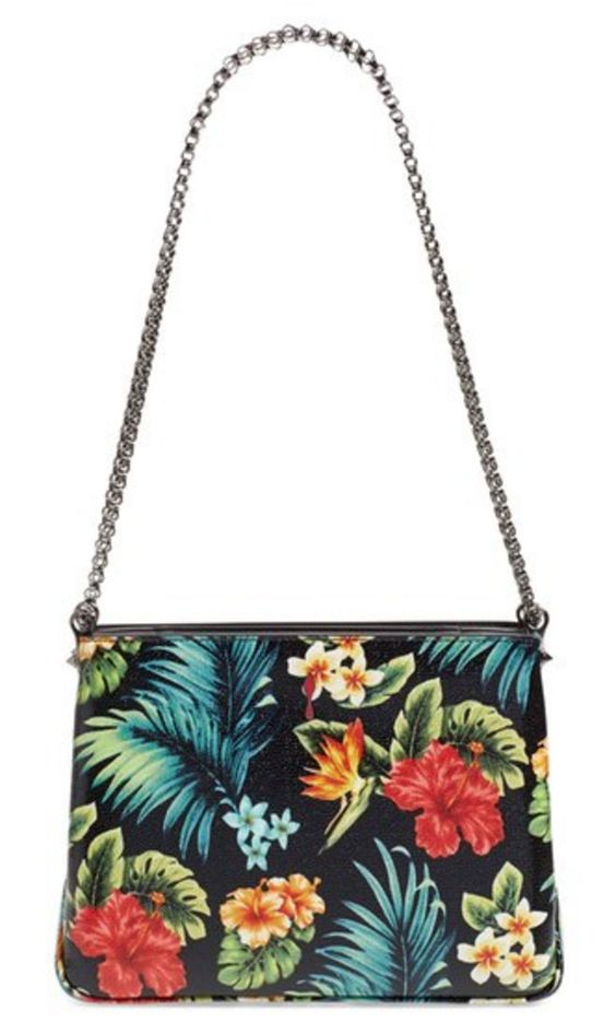 Louboutin Tropical Print Calfskin Shoulder Bag with Chain Strap