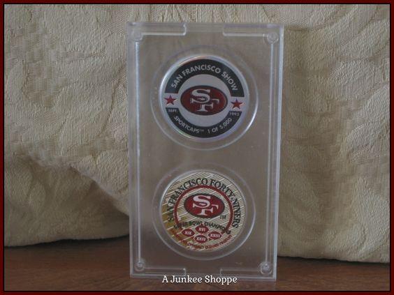 "SAN FRANCISCO 49er's 1993 Set Of 2 Milk Cap POGs ""1 Of 5000"" By Sportcaps  Junk 649  http://ajunkeeshoppe.blogspot.com/"