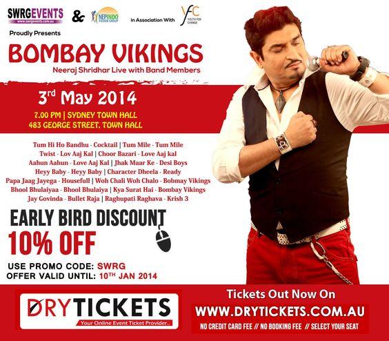 Bombay Vikings - Neeraj Shridhar Live In Sydney - Sydney Town Hall - DryTickets.com.au