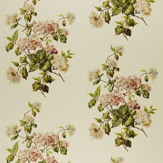 Summer Hydrangea   1315000 in Ivory   Schumacher Fabric