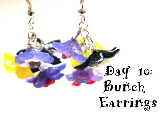 Wire Wrapping for Beginners Day 10:  Bunch Earrings.  I'm working my way through my book, Wire Wrapping for Beginners, 1 day per project.  I used pretty Lucite flowers to make these.  #wirewrapping #jewelry #diy