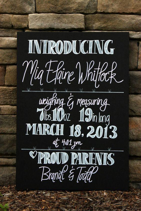 Birth announcement and wedding chalkboard signs by Sweetpeasparty – Chalkboard Birth Announcement