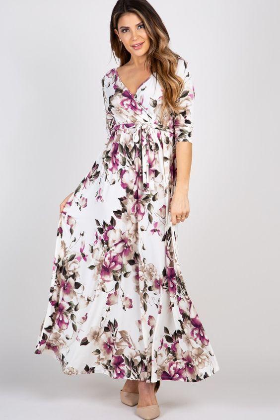 2020 Yazlik Elbise Modelleri Beyaz Uzun V Yaka Klos Etekli Uzun Kol Cicek Desenli Krem Topuklu Ayakkabi The Dress Yazlik Kiyafetler Elbise Modelleri