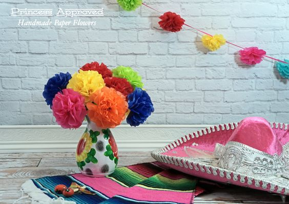 FIESTA Tissue Paper Flowers (12 count) by PrincessApprovedShop on Etsy https://www.etsy.com/listing/126989532/fiesta-tissue-paper-flowers-12-count