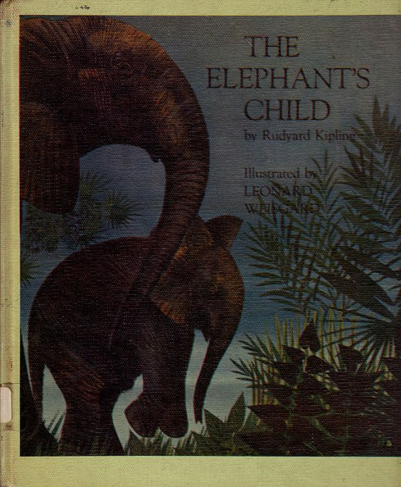 Rudyard Kipling book The Elephants Child, tale from Just So stories,  how pachyderms got trunks