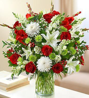 Garden of Grandeur for the Holidays red roses lilies cremones