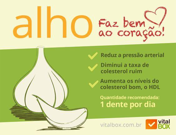 Alho faz bem ao coração! Reduz a pressão arterial e controla os níveis do colesterol. Consuma pelo menos 1 dente por dia.