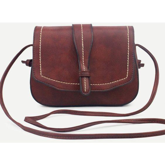 SheIn(sheinside) Coffee Faux Leather Saddle Bag (21 BAM) via Polyvore featuring bags, handbags, shoulder bags, coffee, red purse, red shoulder bag, red satchel, satchel shoulder bag and vegan purses
