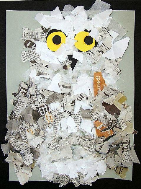 snowy owls...tissue, copy paper, newspaper