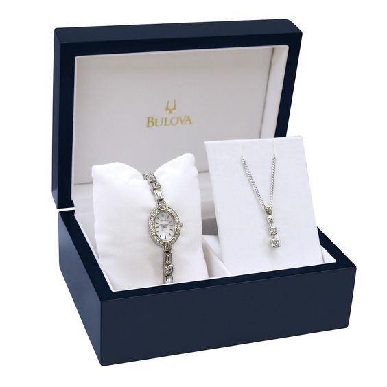Bulova Women's 96T49 Bracelet Watch with a Matching penndent and 18 inch chain