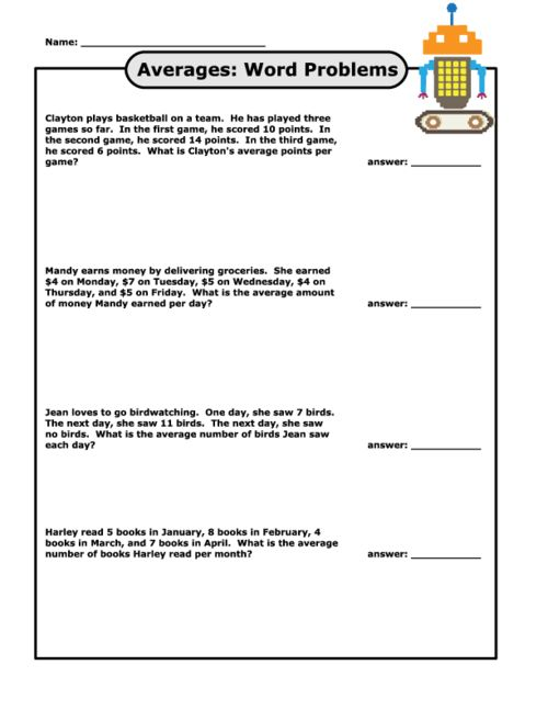Finding Averages Word Problems – Free Printable Math Word Problem Worksheets