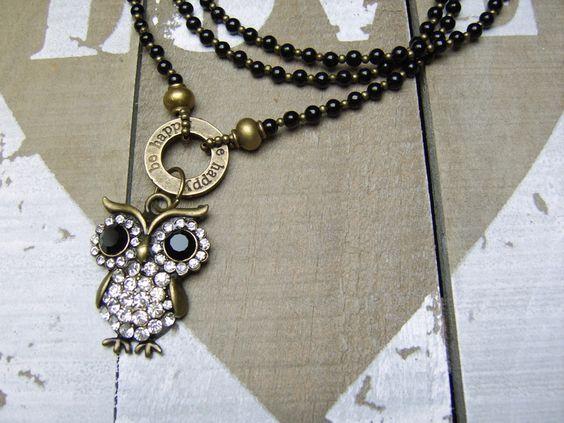 Lange Kette bronze Eule von beadclub66 auf DaWanda.com
