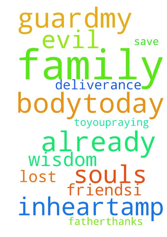 family prayer, please pray -  God, guardmy family inheart& bodytoday. Save the souls of my lost family and friends.I ask Wisdom for us and deliverance from evil. Thank You for already doing these, Father.Thanks toYOUpraying for us, in Jesus' Name Amen.  Posted at: https://prayerrequest.com/t/3Ss #pray #prayer #request #prayerrequest
