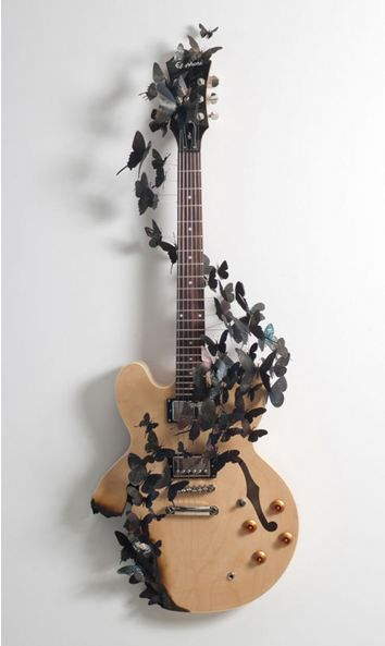 ECO ART: PAUL VILLINSKI: Guitar Tattoo, Guitar Art, Cool Guitar, Musical Instruments, Awesome Guitar, Butterfly Guitar, Paul Villinski, Beautiful Guitar, Electric Guitar