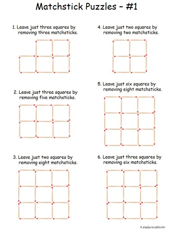 math worksheet : solve toothpick puzzles!  kid activities activities and math : 4th Grade Brain Teasers