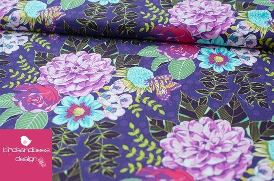 Stoff Blumen - garden bouquet by Michael Miller - ein Designerstück von birdsandbees-design bei DaWanda