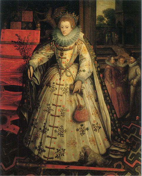 The Wanstead Peace Portrait of Queen Elizabeth I. By Marcus Gheeraerts, circa 1580-85. Evidence suggests that this portrait was commissioned by Elizabeth's favorite, Robert Dudley, Earl of Leicester. He may be the man depicted in the background.