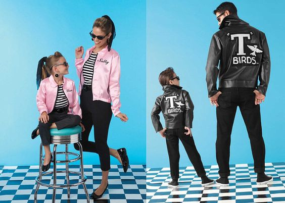 Pink Ladies and Greasers: Go Grease Lightning! Dress up your family as the Pink Ladies and T Birds ($44 - $80), and try not to break out in song as you wander door to door in your neighborhood.