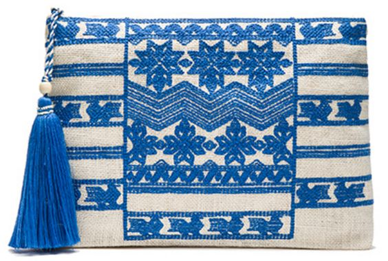 Embroidered Jute Tassel Clutch in Blue and White