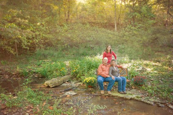 family portraits by creek and meadow