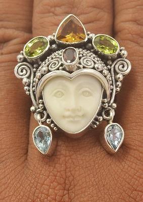 Adjustable 6 7 8 9 10 Goddess Face Citrine Peridot 925 Bali Silver Ring T1748