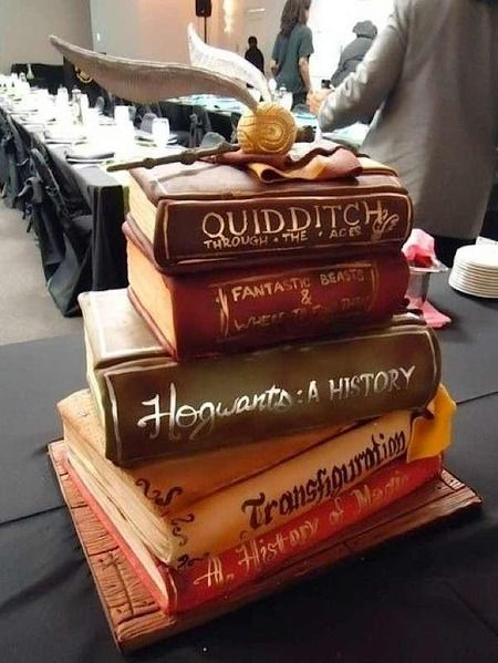 Harry Potter books cake created by TIER Luxury Cakes: http://www.cakewrecks.com/home/2015/8/9/sunday-sweets-for-book-lovers-day.html