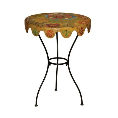 Metal Floral Side Table