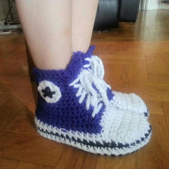 Crochet Baby Booties High Top Converse Style Pattern : Converse Baby Shoe Crochet Pattern
